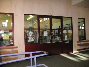 The windows at the front of the library before their transformation