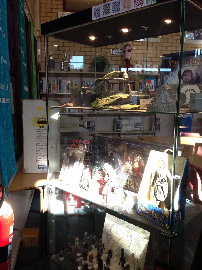 Photo of the objects in the display cabinet for the Lord of the Rings display