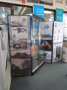 Side view of the display cabinet with information about the writing of War Horse as a story