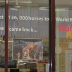 Photograph of the vinyl lettering to teach students about the 136000 horses sent to World War 1 and only 1 returned.