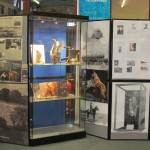 General view of the display wall at the front of the library including the display cabinet.