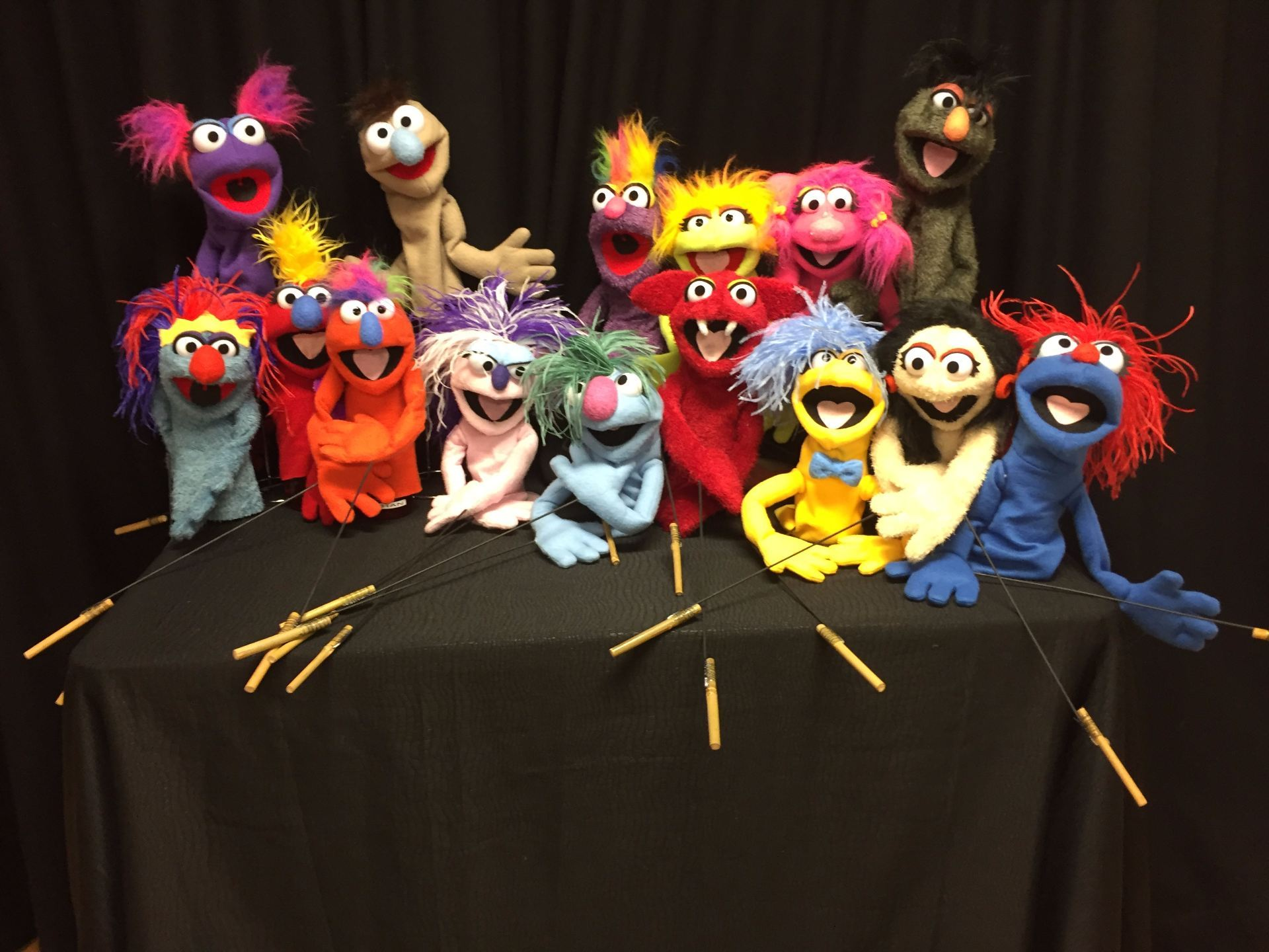 The finished puppets made by the participants.