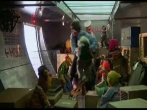 Muppets in the hold of the plane back to USA in the Great Muppet Caper