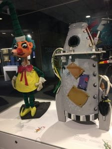 The Mr Squiggle puppet and the Rocket puppet