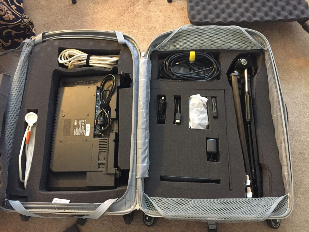 Monitor puppetry kit in it's case