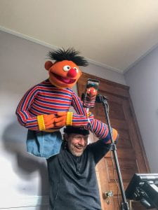 Peter Linz performing Ernie using a mobile phone