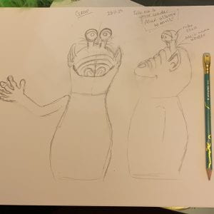 Pencil sketch showing front and side views of my alien puppet